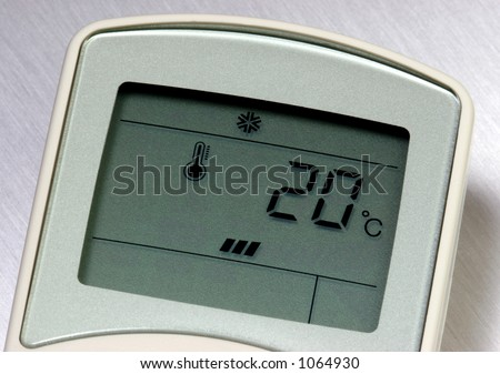 Remote control for an air conditioner, set at 20 degrees