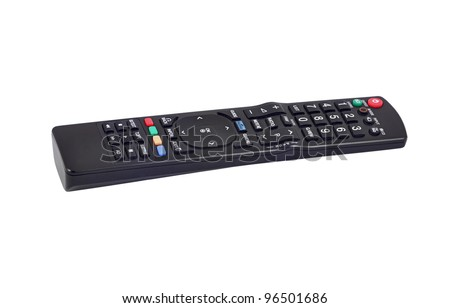 Remote control for TV set on white background