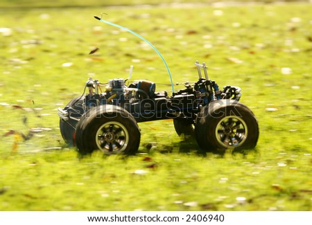 Remote Control Gas Model Truck in Motion