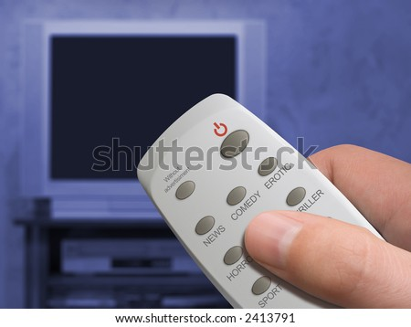"Remote control in hand, buttons News, Comedy, Erotic, etc., button ""Without advertisiment"", TV set on background"