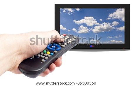 Remote control in men hand and tv set,isolated on white - stock photo