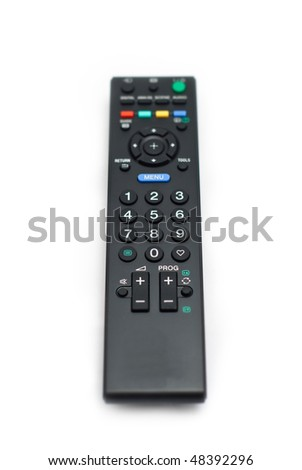 Remote control isolated on white background. Selective focus. - stock photo