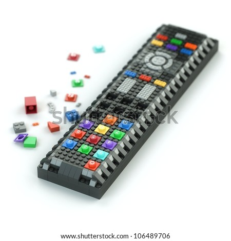 remote control of Lego bricks isolated on white background (first version)