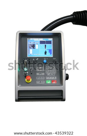 remote control panel with display monitor of CNC industrial machine isolated on white