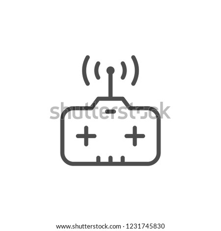 Remote control toy line icon isolated on white