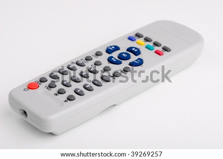 Remote control tv isolated on white - stock photo