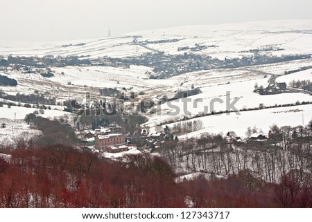 Remote farmland on the snow covered Yorkshire moors