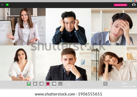 Remote learning. Video lesson. Online education. Distance communication. Exhausted bored diverse multiethnic group of students sleeping listening to female teacher at digital class on screen. Photo stock ©
