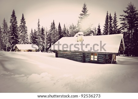 Remote log cabin in winter with vintage look