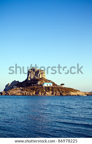 remote monastery on a little island Kastri at Kos island, Greece