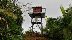 Remote radio tower surrounded by dense rainforest located on the top of Mount Azore in the south of Praslin island, Seychelles.