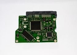 Removal controller board of the hard disk drive on a white background