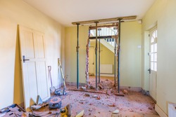 Removing a wall during a home renovation, UK building work
