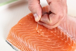 Removing Bones from Salmon Fillet