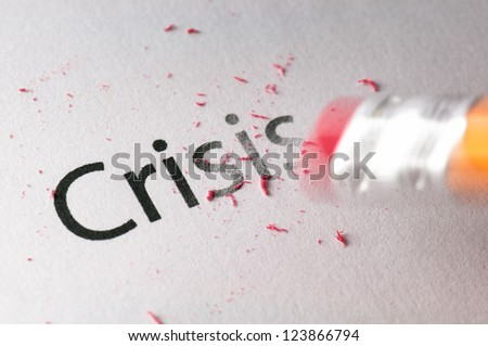 Removing word with pencil's eraser, Erasing crisis