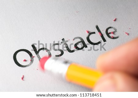 Removing word with pencil's eraser, Erasing obstacle
