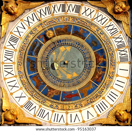 Renaissance Astronomical clock in Brescia, Italy (1540-50). Displays hours, moon phases and the zodiac.