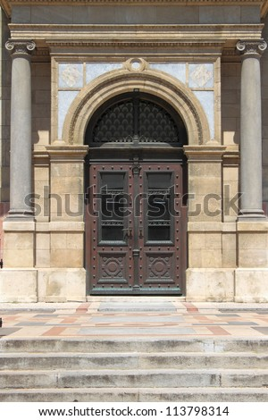 Renaissance door at St. Stephen Basilica in Budapest, Hungary