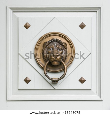 renaissance lionhead knocker from a door of a hungarian palace