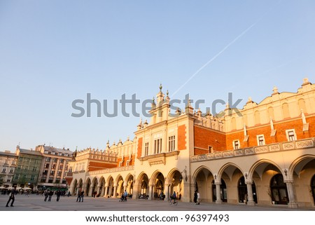Renaissance Sukiennice (Cloth Hall, Drapers' Hall) in Krak���³w, Poland, is one of the city's most recognizable icons.