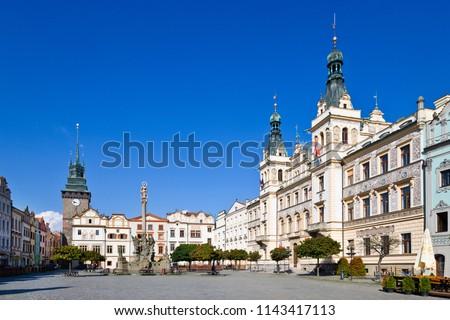 Renaissance town hall and Marian column, Green gate, Pardubice, East Bohemia, Czech republic