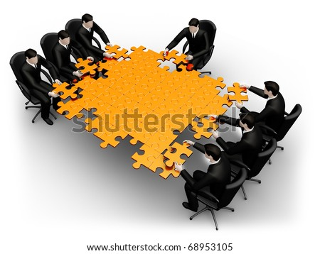 Render business team work building a puzzle isolated over a white background