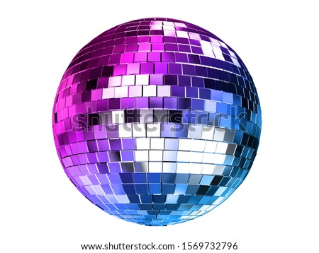 Render 3d illustration of color disco ball isolated on white background. Stock photo ©