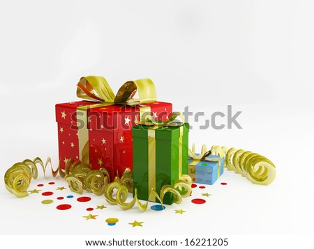 render illustration of decorations and christmas gifts