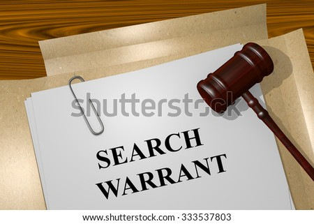 Render illustration of Search Warrant Title On Legal Documents
