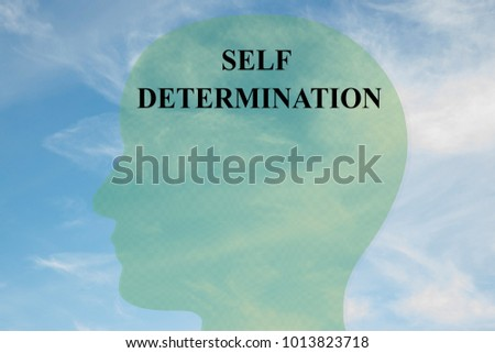 Render illustration of SELF DETERMINATION title on head silhouette, with cloudy sky as a background.