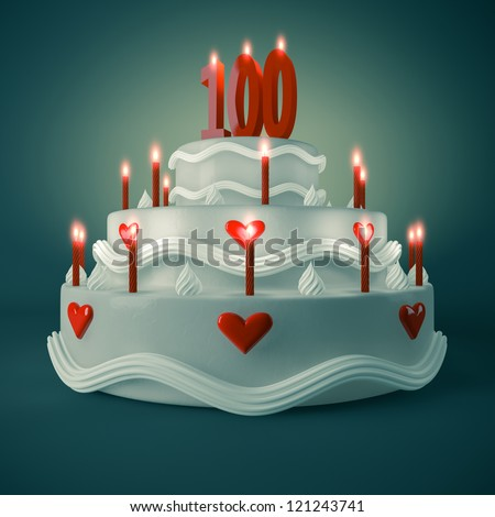 Render of a birthday-anniversary cake with red candle showing Number 100
