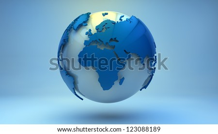 render of a blue world globe showing europe, africa and middle east
