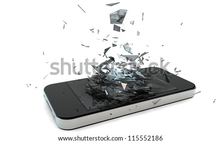 render of a broken smart phone
