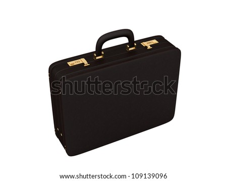 render of a brown leather briefcase on a white background - stock photo