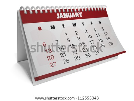 Render of a 2013 calendar with real dates of january