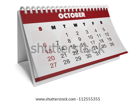 render of a 2013 calendar with real dates of october