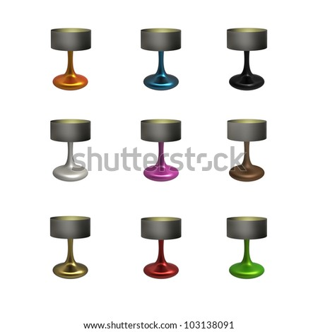 Render of a Ceramic Table Lamp Set isolated on a white background