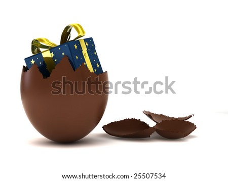 render of a chocolate easter eggs with a surprise
