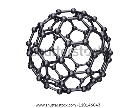 Render of a chrome C80 Fullerene Isolated on White