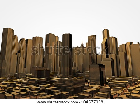 render of a city made of gold