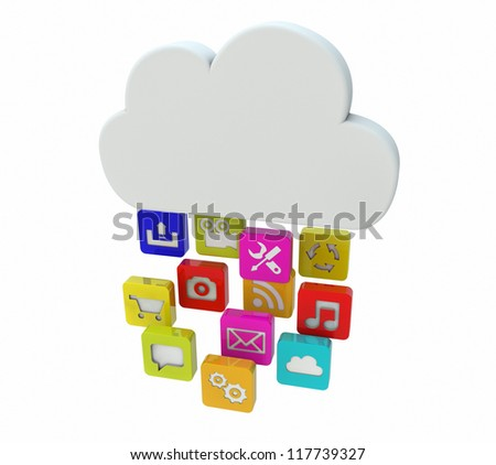 render of a cloud falling apps