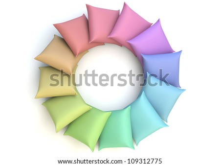 render of a colored circle made of pillows