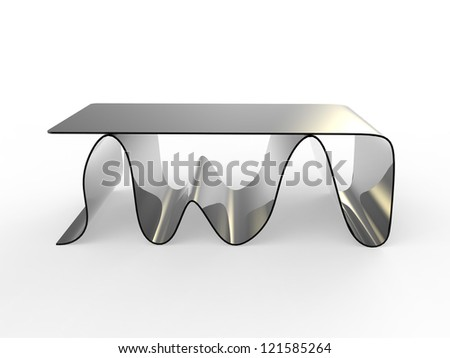 """render of a concept """"wave"""" coffe table with a white background"""
