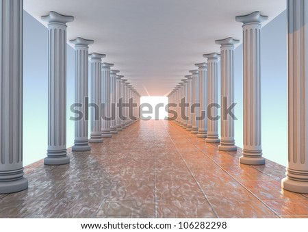 render of a corridor with columns - stock photo