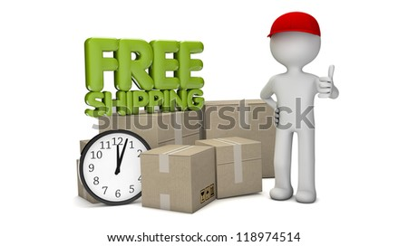 render of a free shipping text delivery with a man with cardboads and a clock