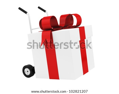 render of a gift box on a hand truck, isolated on white