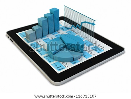 render of a group of graphics over a tablet pc