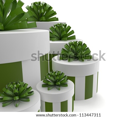 render of a group of green gifts