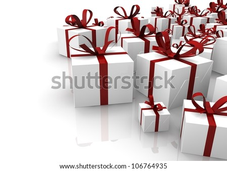 render of a group of isolated gifts