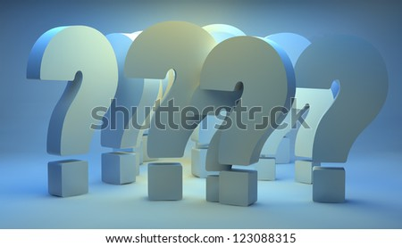 render of a group of question marks with blue background